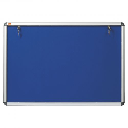 Nobo A1 Lockable Internal Felt Display Case Blue