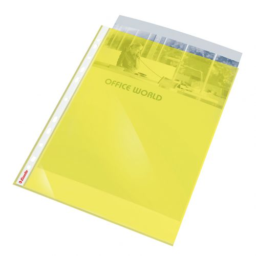 Esselte Coloured Pocket Multipunched Reinforced Top-opening A4 Yellow 47201 [Pack 10]