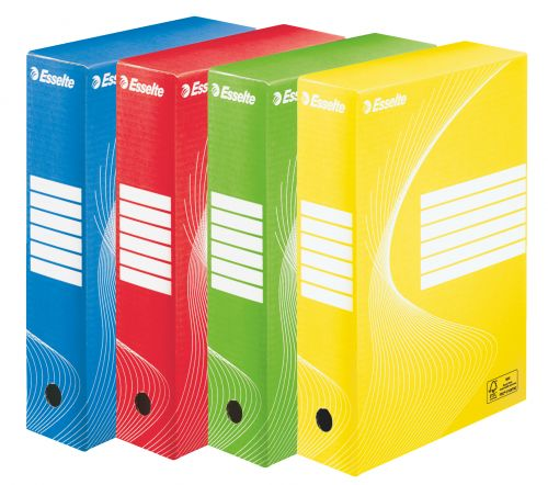 Esselte Standard Archiving Box, 80mm - Assorted Colours (Pack of 4)
