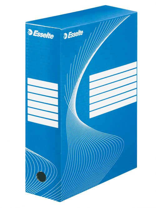 Esselte Standard Archiving Box, A4, 100mm - Blue - Outer carton of 25