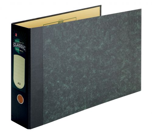 Rexel Classic 80 Lever Arch File A3 Black/Green (Pack of 2) 26435EAST