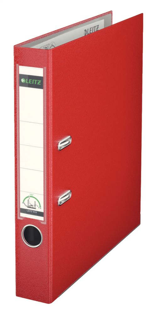 Leitz Mini Lever Arch File Plastic 52mm Spine A4 Red 10151025 [Pack 10]