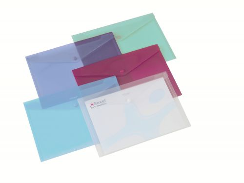 Rexel Polypropylene Carry Wallet A4 Assorted 16129AS (PK6)