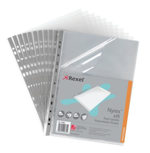 Rexel Nyrex Premium Presentation Pocket Top and Side-opening 90 Micron A4 Glass Clear Ref 13682 [Pack 25]