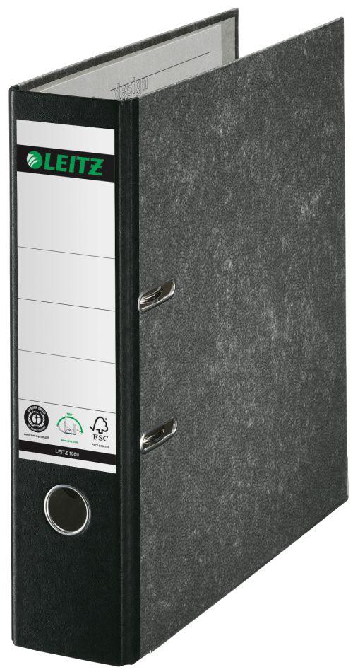 Leitz Board Lever Arch File Foolscap Portrait Black 10821095