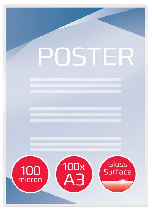 GBC Laminating Pouch A3 2x100 micron 3740307 (PK100)