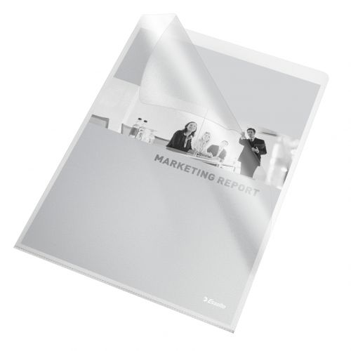 Esselte Quality Folder, Holds up to 20 A4 sheets, Transparent, Matte, 115 Micron Polypropylene (Pack of 25) - Outer carton of 4
