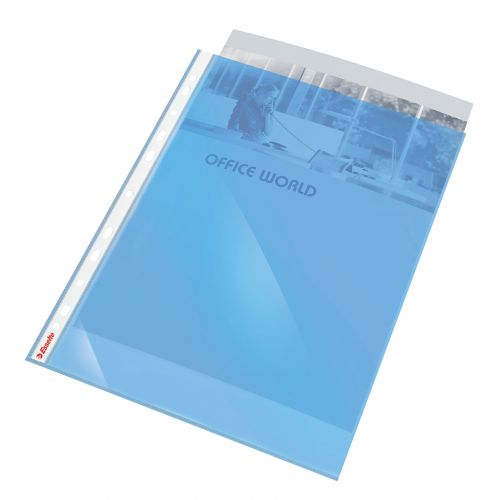 Esselte Quality Punched Pocket, Transparent, Matte, Blue, 55 Micron Polypropylene (Pack 10) - Outer carton of 10