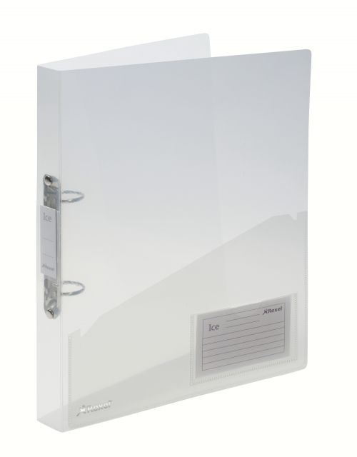 Rexel Ice A4 2 O-Ring Binder 30mm Spine Clear PK10