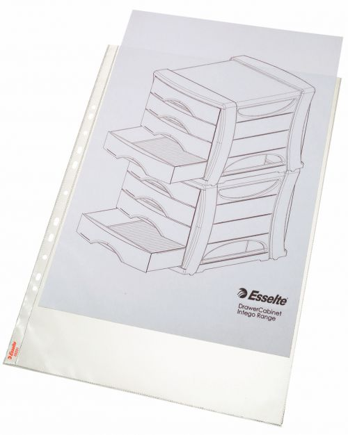 Esselte Quality Punched Pocket, Holds up to 20 A3 sheets, Transparent, Matte, 85 Micron Polypropylene (Pack 50)