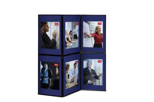 Nobo Showboard Display 6 Panels Each of W600xH900xD20mm Sides 9.75kg Blue & Grey Ref 1900043