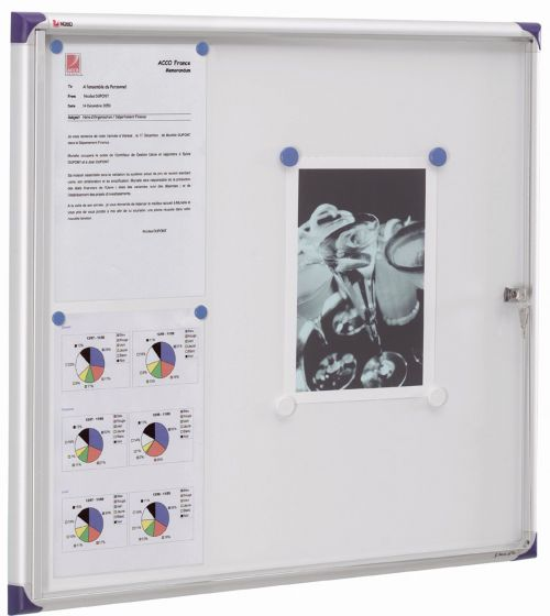 Nobo Noticeboard Extra-flat Glazed Case Lockable Magnetic Steel 6xA4 W730xD22xH680mm Ref 1900847