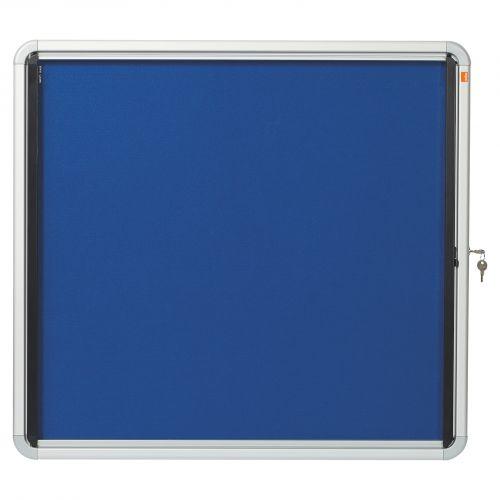 Nobo Noticeboard for Interior Glazed Case Lockable Fabric 6xA4 W692xH752mm Ref 1902555