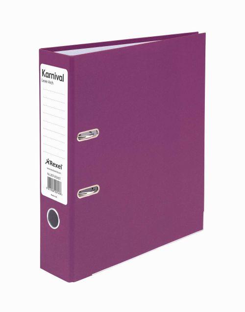 Rexel Karnival Lever Arch File Paper over Board Slotted 70mm A4 Violet Ref 20747EAST [Pack 10]