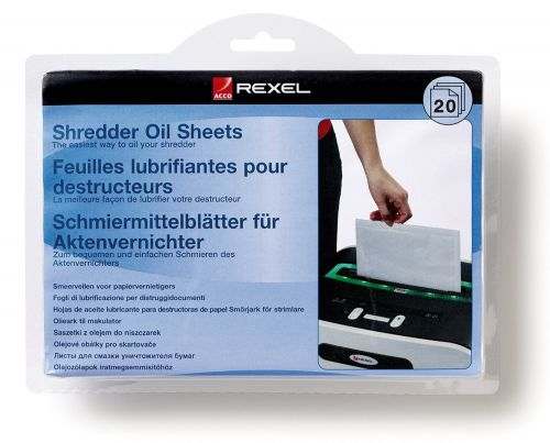 Rexel Shredder Non-Auto Oil Sheets (Pack of 20) 2101949