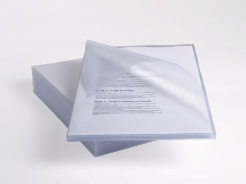 Rexel Anti Slip Cut Flush Folders A4 Clear (Pack of 25) 2102211