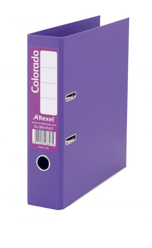 Rexel Colorado Lever Arch File 80mm Foolscap Purple PK10
