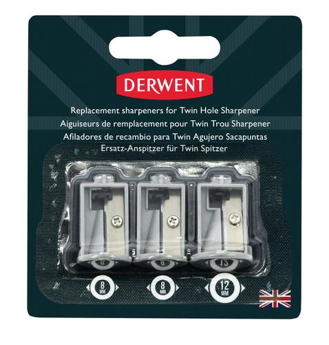 Derwent Replacement Sharpeners for Battery Operated Twin Hole Sharpener (3) - Outer carton of 12