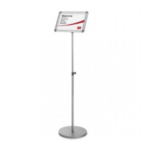 Nobo Snap Frame Display Stand for A4 Documents Adjustable Height 950-1470mm Silver Ref 1902383