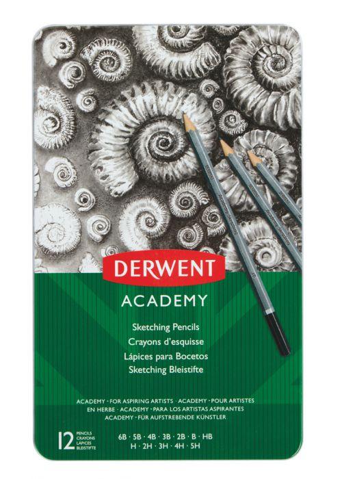 Derwent Academy Sketching Pencils Tin 6B-5H (Set of 12) - Outer carton of 6