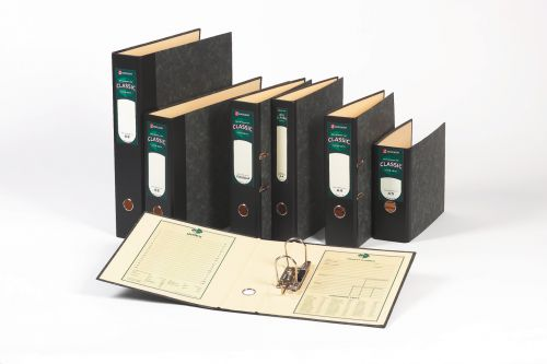 Rexel Classic Lever Arch File Paper on Board Foolscap 80mm Spine Width Black/Green (Pack 10)