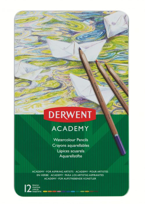 Derwent Academy Watercolour Tin Set of 12 Watersoluble Colour Pencils - Outer carton of 6