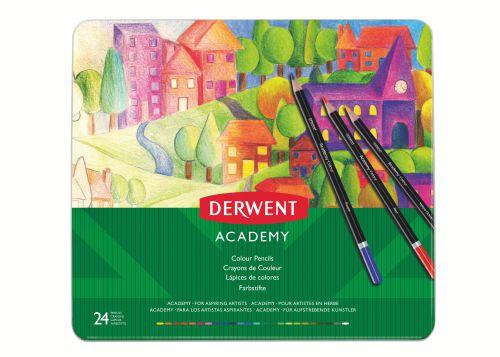 Derwent Academy Colouring Pencils Tin (Set of 24) - Outer carton of 3