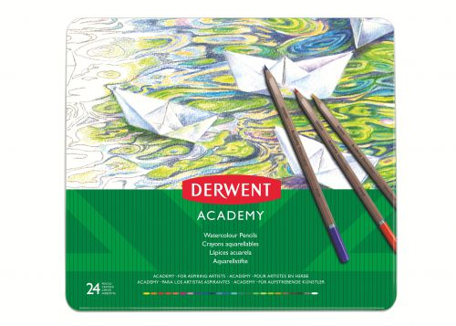 Derwent Academy Watercolour Tin Watersoluble Colour Pencils (24) - Outer carton of 3
