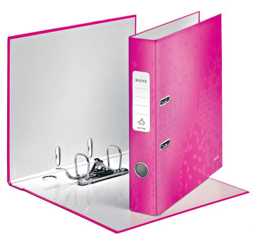Leitz WOW Spine Lever Arch File A4 50mm - Metallic Pink - Outer carton of 10
