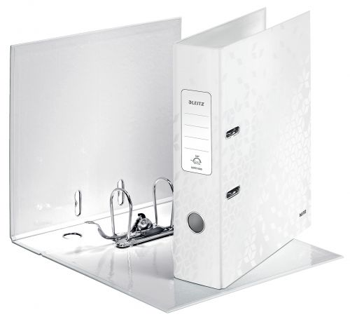 Leitz Wow Lever arch File 180° A4 80mm Pearl White Pack 10