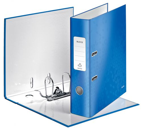 Leitz WOW Laminated 180deg Lever Arch Files A4 Blue 10050036 [Pack 10]
