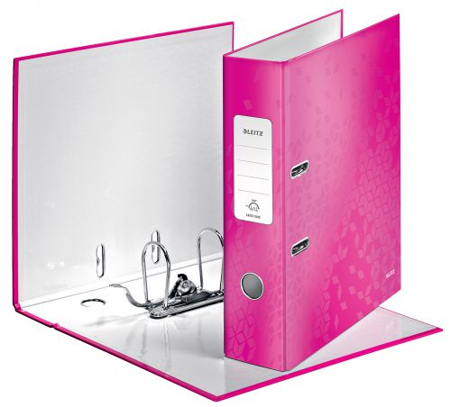 Leitz WOW Laminated 180deg Lever Arch Files A4 Pink 10050023 [Pack 10]