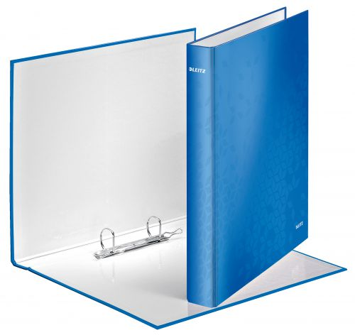 Leitz WOW Ring Binder A4 Maxi 2 D-Ring Size 25mm for 250 Sheets Blue Metallic - Outer carton of 10