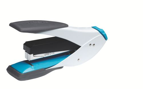 Rexel Easy Touch Half Strip Stapler, 30 Sheet Capacity, Flat Clinch, Metal Body, Includes Staples, Blue and White