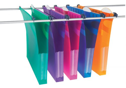 Rexel Multifile Extra Foolscap Suspension File Polypropylene 30mm Assorted Colours (Pack 10)