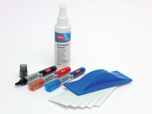 Nobo Whiteboard Starter Kit 3 Asst Drywipe Markers/Eraser/Refills/125ml Cleaning Fluid Spray Ref 34438861
