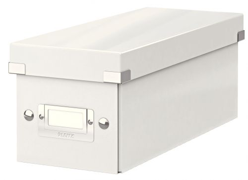 Leitz WOW Click & Store CD Storage Box. With label holder. White