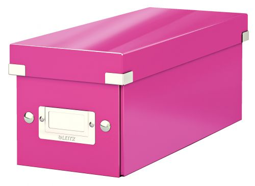 Leitz WOW Click & Store CD Storage Box. With label holder. Pink.