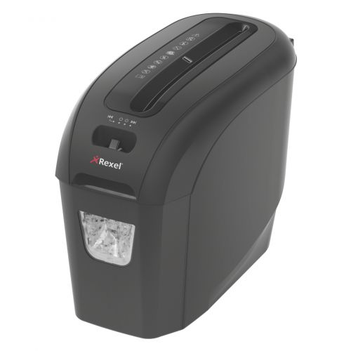 Rexel Prostyle+ Manual Strip Cut Shredder for Home or Small Office Use, 7 sheet capacity, 7.5 Litre Removable Bin, Includes Shredder Oil Sheets, Black