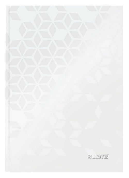 Leitz WOW Notebook A5 ruled with hardcover 80 sheets.  Pearl White - Outer carton of 6