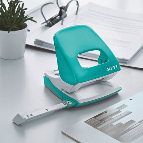 Leitz 5008 WOW 2 Hole Punch Metal 30 Sheet Ice Blue 50081051    County Office Supplies