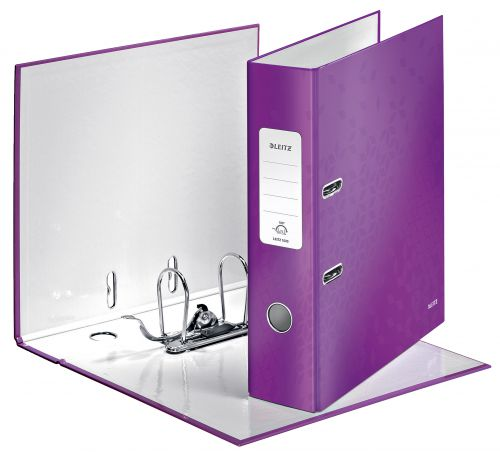 Leitz 180° WOW Lever Arch File A4 Laminated 80mm Purple - Outer carton of 10