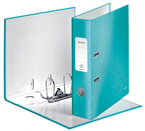 Leitz WOW Laminated 180deg Lever Arch Files A4 Ice Blue 10050051 [Pack 10]
