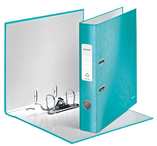 Leitz 180 WOW Lever Arch File Laminated Paper on Board A4 50mm Spine Width Ice Blue (Pack 10)