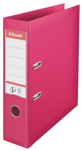 Esselte No.1 Lever Arch File Polypropylene, A4, 75 mm, Fuchsia - Outer carton of 10