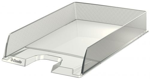 Esselte Europost A4 Letter Tray, Glass Clear - Outer carton of 10