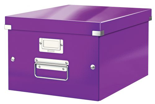 Leitz WOW Click & Store Medium Storage Box. With metal handles.  Purple.