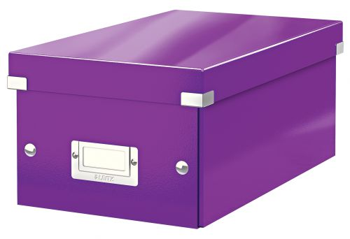 Leitz WOW Click & Store DVD Storage Box. With label holder. Purple.