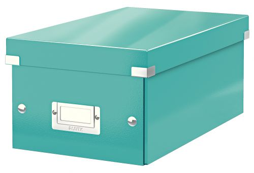 Leitz WOW Click & Store DVD Storage Box. With label holder. Ice Blue.