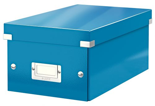 Leitz WOW Click & Store DVD Storage Box. With label holder. Blue.